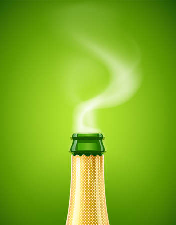 Champagne. Wine bottle. French traditional drink. Concept design for wines menu on green background. Christmas symbol. EPS10 vector illustration.