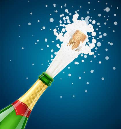 Champagne green bottle. Explode traditional french alcohol drink. Grape wine. Celebration symbol. Holiday tradition. Birthday greetings. Beverage splash. Wooden cork. Blue background. EPS10 vector illustration.