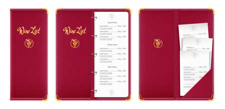Red covered wine list. Bar menu book with check. Concept design for restaurant equipment. Isolated white background. Illustration