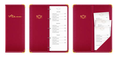 Red covered menu book with check. Concept design for restaurant equipment. Isolated white background.