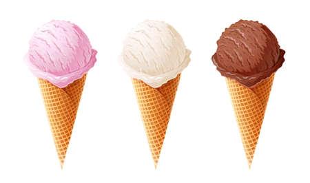 Ice cream. Set of summer sweetness. Milk, chocolate, vanilla, strawberry icecream. Cone cup Ice-cream. Sweet dessert. Frozen product. Isolated white background.