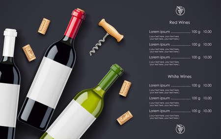 Diseño de concepto de botella de vino tinto, corcho y sacacorchos para lista de vinos en fondo oscuro. Menú de bebida. Bebida alcohólica embotellada.