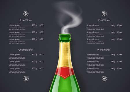 Champagne Wine bottle with smoke concept design for Wines list in dark background. Drink menu. Bottled alcohol beverage.