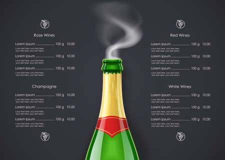 Champagne Wine bottle with smoke concept design for Wines list in dark background. Drink menu. Bottled alcohol beverage.