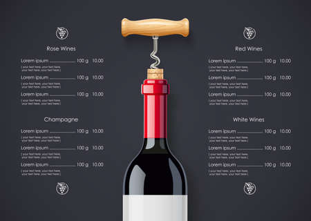 Red Wine bottle, cork and corkscrew concept design for wines list in dark background. Drink menu. Bottled alcohol beverage.