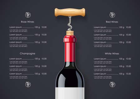 Rotweinflasche, Korken und Korkenzieher-Konzeptentwurf für Weinliste im dunklen Hintergrund. Getränkemenü. Alkoholgetränk in Flaschen.
