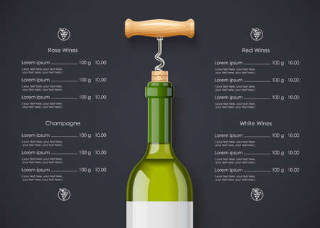 White Wine bottle, cork and corkscrew concept design for wines list in dark background. Drink menu. Bottled alcohol beverage.