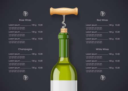 White Wine bottle, cork and corkscrew concept design for wines list in dark background. Drink menu. Bottled alcohol beverage.