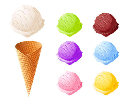 Ice cream. Set of summer sweetness. Milk, chocolate, vanilla, strawberry icecream. Cone cup Ice-cream. Sweet dessert. Frozen product. Isolated white background.