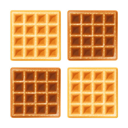 Belgian waffle. Sweetness snack. Food for lunch, dessert. Realistic homemade bake. Isolated white background.