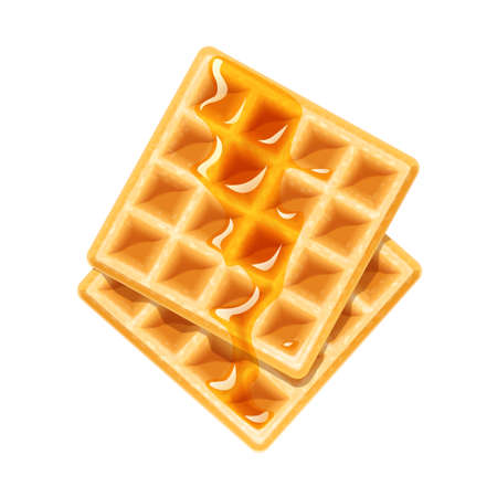 Belgian Waffle with honey. Dessert sweetness. Lunch cooking. Isolated white background. Imagens - 103720070