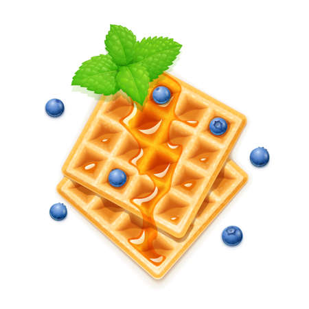 Belgian Waffle, blueberries, honey and peppermint. Dessert sweetness. Lunch cooking. Blueberry decoration. Isolated white background. Ilustração