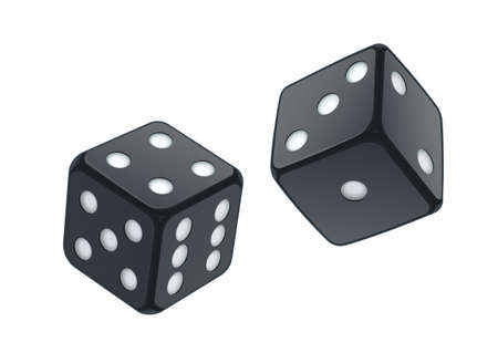 Black playing dice for casino and game. Isolated white background. Illustration