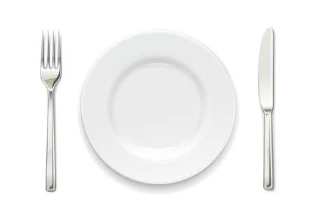 Plato, tenedor y cuchillo. Juego de utensilios. Vajilla para comida. Colección de utensilios. Fondo blanco aislado. Ilustración de vector