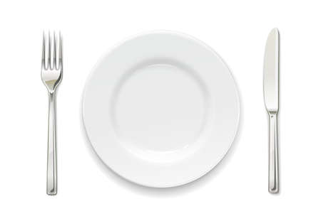 Plate, fork and knife. Set of utensils. Tableware for food. Utensil collection. Isolated white background.
