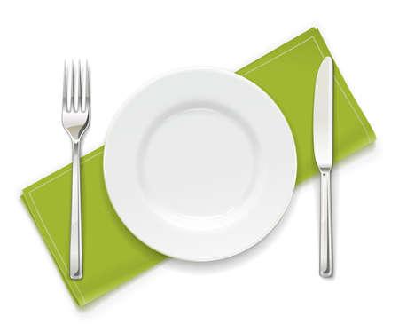 Assiette, fourchette et couteau. Ensemble d'ustensiles. Vaisselle pour la nourriture. Collection d'ustensiles. Fond blanc isolé. Illustration vectorielle EPS10.