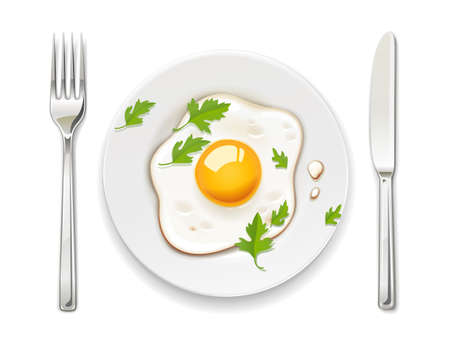 Fried eggs. Scrambled egg. Plate, fork and knife. Breakfast serving. Cooked omelette. Isolated white background. EPS10 vector illustration.