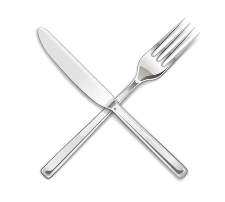 Fork, knife. Set of utensils for eating. Food dishes. Stainless tableware. Kitchen equipment. Cooking tools. Serving. Isolated white background. EPS10 vector illustration. Illustration