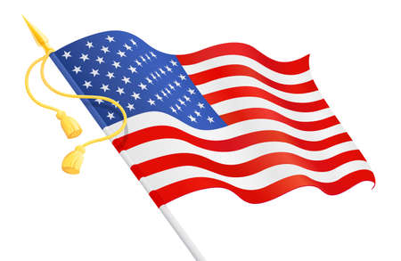 USA flag at handle. National symbol for Independence Day. 4 of July United States of America holiday. Isolated white background. EPS10 vector illustration.