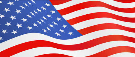 USA flag. National symbol for Independence Day. 4 of July United States of America holiday. Isolated white background. EPS10 vector illustration.