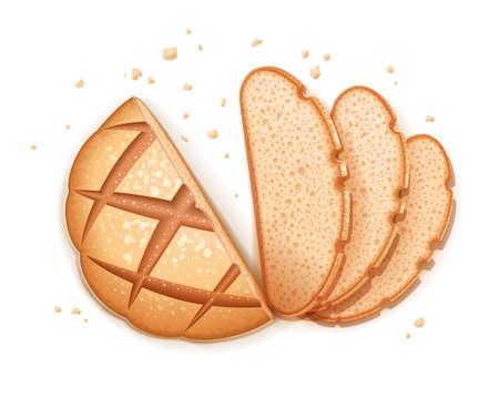 Pane tondo scuro di segale. Pagnotta realistica. Cuocere cibi sani. Prodotto di farina per il consumo. Cuocere la razione. Sfondo bianco isolato. Illustrazione vettoriale Eps10.