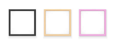 Black, yellow and pink square frame. Gallery wall decoration for picture. Art object. Isolated white background. EPS10 vector illustration.  イラスト・ベクター素材