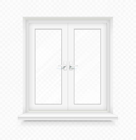 White classic plastic window with windowsill. Transparent framing interior design element. Construction part. Clean domestic glass. EPS10 vector illustration.