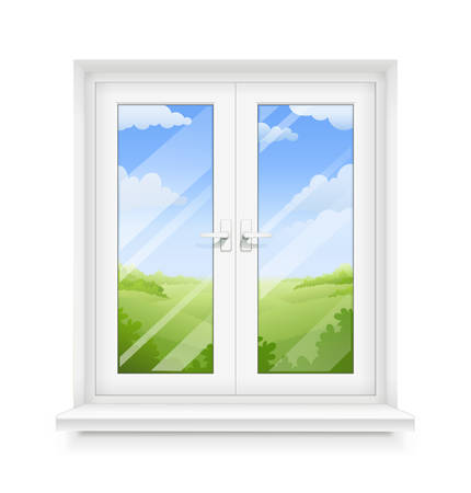 White classic plastic window with windowsill. Transparent framing interior design element. Construction part. Clean domestic glass. Sky and ground panorama view. EPS10 vector illustration. Çizim