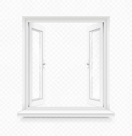 Białe klasyczne plastikowe otwarte okno z parapetem. Element wystroju wnętrz z przezroczystą ramką. Część konstrukcyjna. Czyste szkło domowe. Ilustracja wektorowa Eps10. Ilustracje wektorowe