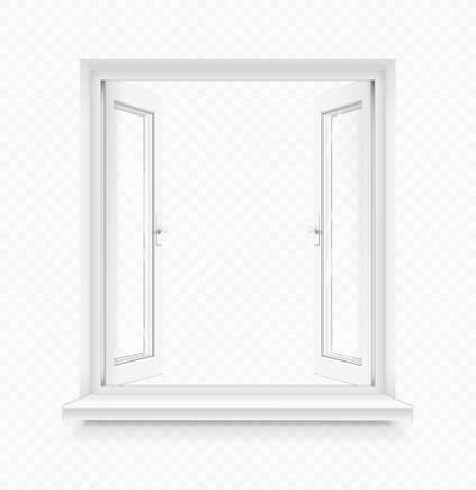 White classic plastic open window with windowsill. Transparent framing interior design element. Construction part. Clean domestic glass. EPS10 vector illustration.