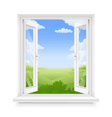 Fenêtre ouverte en plastique classique blanc avec rebord de fenêtre. Élément de design d'intérieur d'encadrement transparent. Partie de construction. Nettoyez la vitre domestique. Vue panoramique du ciel et du sol. Illustration vectorielle EPS10. Vecteurs