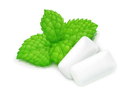 Due gomme da masticare e foglie di menta. Chewing-gum alla menta fresca. Cibo delizioso. Caramelle alla menta piperita. Freschezza alito orale. Sfondo bianco isolato.