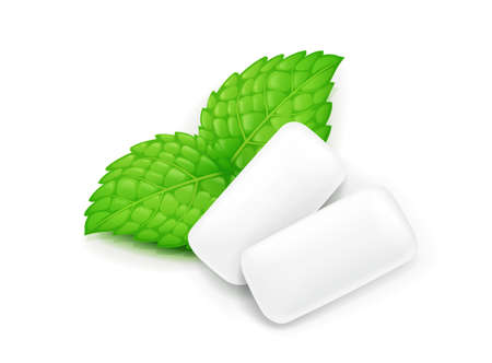 Two chewing gum and mint leaf. Fresh spearmint chewing-gum. Delicious food. Peppermint candy. Coolness oral breath. Isolated white background. EPS10 vector illustration. Illustration