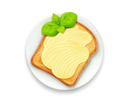 Sandwich with butter and basil leaf on plate. Bread toast. Lunch, dinner, breakfast snack. Isolated white background. EPS10 vector illustration. Illustration