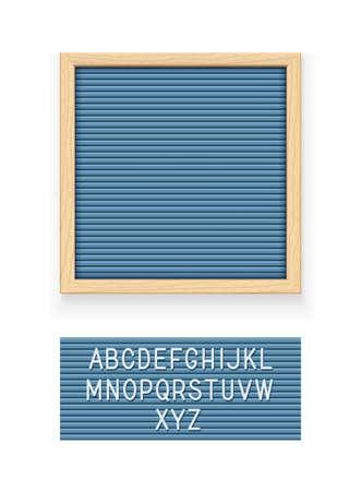 Niebieska tablica z literami. Tablica na notatkę. Talerz do wiadomości. Materiały biurowe. Drewniana rama. Na białym tle. ilustracji wektorowych.