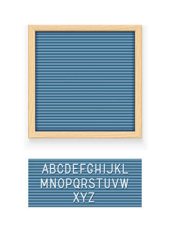 Blue letter board. Letterboard for note. Plate for message. Office stationery. Wooden frame. Isolated white background. vector illustration.