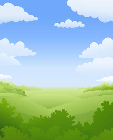 Natural landscape. Sky, cloud, tree, shrub and hill. Summer weather. vector illustration. Ilustracja