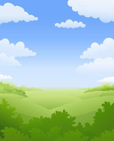 Natuurlijk landschap. Lucht, wolk, boom, struik en heuvel. Zomerweer. vector illustratie.