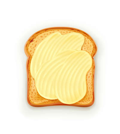 Sandwich with butter. Bread toast. Lunch, dinner, breakfast snack. Isolated white background. Illustration