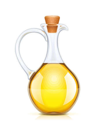Oil bottle with cork. Glass jug for liquid ingredient. Oils capacity. Olive product for cooking. Isolated white background. EPS10 vector illustration.