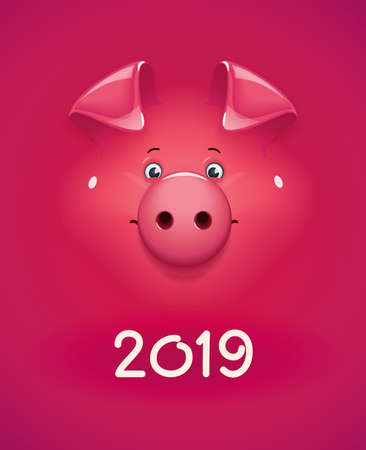 Red pig. Concept design for new year holiday. Christmas banner. Chinese zodiac symbol. Cartoon xmas character. vector illustration.