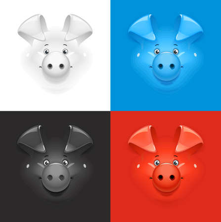 Pig. Set of icon at different colour background. New year symbol. Piggy face. Cartoon character. Animal muzzle. EPS10 vector illustration. Illustration