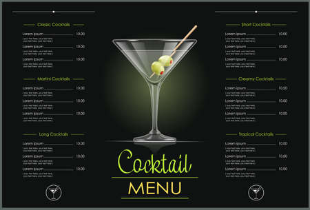 Martini glass. Cocktail menu concept design for alcohol bar. Alcoholic classic drink. Dry vermouth with green olive. EPS10 vector illustration. 向量圖像