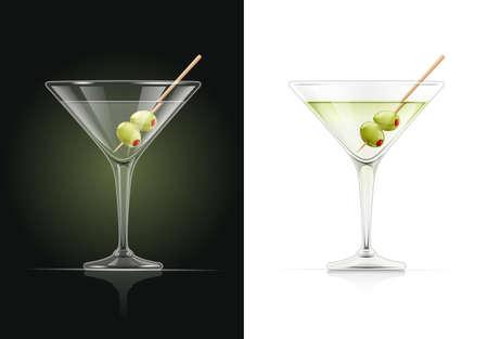 Copa de martini. Cóctel. Bebida alcohólica clásica. Vermut seco con aceituna verde. Ilustración de vector Eps10. Ilustración de vector