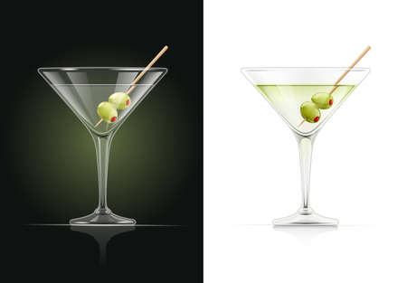 Martini glass. Cocktail. Alcoholic classic drink. Dry vermouth with green olive. EPS10 vector illustration. Фото со стока - 114916998