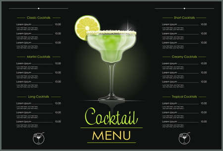 Margarita glass. Cocktail menu concept design for alcohol bar. Alcoholic classic drink with lime. vector illustration.