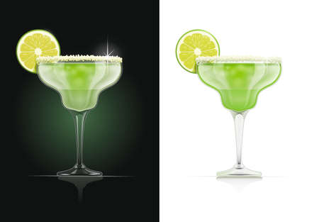 Margarita glass. Alcohol cocktail. Alcoholic classic drink with lime. EPS10 vector illustration.