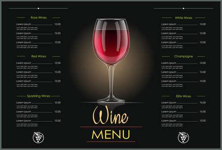 Copa de vino tinto. Diseño de concepto para el menú de vinos en fondo oscuro. Lista de bebidas. Bebida alcohólica. Ilustración de vector Eps10.