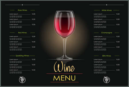 Red Wine glass. Concept design for wines menu in dark background. Drink list. Alcohol beverage. EPS10 vector illustration. Ilustração