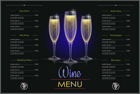 Champagne glass. Concept design for wines menu in dark background. Drink list. Alcohol beverage. EPS10 vector illustration.